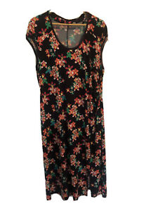 Anna Scholz Size 20 Beautiful Dress Long Split Brown With Flowers