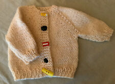 "Hand Knit Sweater For The 18"" Doll With Cute Back To School Buttons!"
