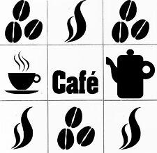 """FLIESEN Aufkleber """"CAFÈ"""" SET - Küche Home Dekor Sticker Bohnen Tasse Kaffee 605"""