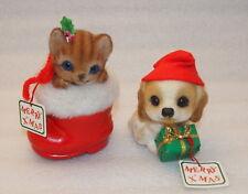 Vintage Josef Originals Fuzzy Flocked Cat & Dog Xmas Figurines plus Bonus