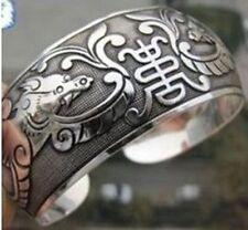 "#14198 Flattering Tibetan Silver Hand Carved ""Lucky"" Cuff Bracelet Adjustable"