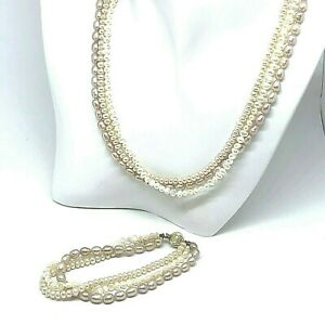 Freshwater Pearl Necklace and Bracelet Set Pink Rice and Baroque White 3 strand