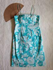 Rena Rowan Dress Sundress Teal White Spaghetti Straps Back Tie Stretch Lined 10