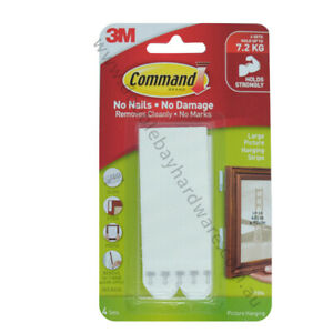 3M COMMAND Damage-Free Hook 4 Sets Large Picture Hanging Strips 7.2Kg 17206