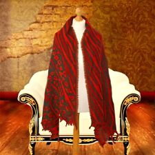 Ladies luxury leopard print wool scarf wool shawl in red beige animal print