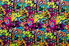 LYCRA SPANDEX PRINTED FLORAL PAISLEY  FABRIC   BTY  DANCE GYMNASTICS