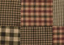 Dunroven House  Patchwork Homespun Hunter Green / Red Fabric 1/2 Yd Cut