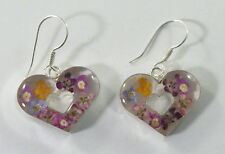 925 sterling silver heart-shaped earrings with real flowers 4.7 grams