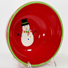 Target Home SLEDDIN HILL 16oz Cereal Soup Bowl Red 2007 Christmas Snowman