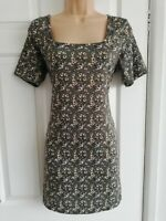 Olive Green Ditsy Floral Print Short Shift Dress By Pink Vanilla Size 12 BNWT