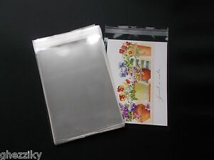 100 CLEAR CELLO SELF SEAL BAGS SLEEVES ENVELOPES 4-3/4 x 6-1/2  CARDS A6