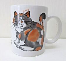 Calico Cat Coffee Mug Cup 11 oz Gray Orange Black Cat Paw Prints Kitty
