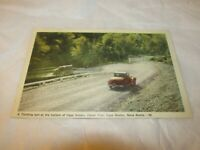 Vintage Postcard Nova Scotia Canada Cape Breton turn at bottom Cape smoky car