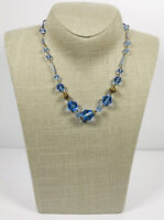 Vintage Necklace Gold Tone Blue Bicone Glass Beads Collar Length Cute Kitsch