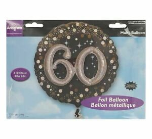 32 inch round 60th Black Silver and Gold 3-d effect balloon