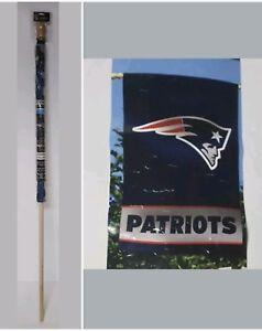 New England Patriots NFL Team  28''x40'' Vertical Flag/Banner w/ 5' Wooden Pole
