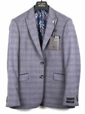 TED BAKER Grey Blue POW Check Wool Jacket Blazer Coat & TB Suit Bag UK42 IT52