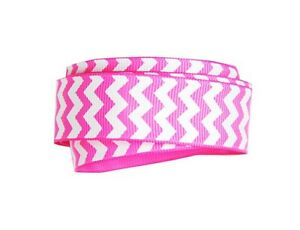 """1yd of Hot Pink and White 1.5"""" Chevron Pattern Grosgrain Ribbon neatly wound"""