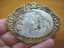 (C-1405) Girl curly hair carved Paua M of Pearl shell CAMEO brass Pin pendant