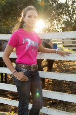 LADIES HOT PINK HORSE TEE SHIRT 100% COTTON SIZE SMALL