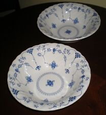 """2 8"""" Vegetable Bowls with Swirl Rims – accented with Blue Flowers"""