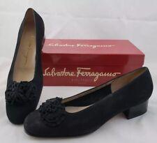 Salvatore Ferragamo Boutique Women's 7 B Black Calf Leather Pumps Heels Italy