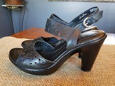 Born B. O. C - Black Leather Strappy High Heel Platform Sandals Size 8M