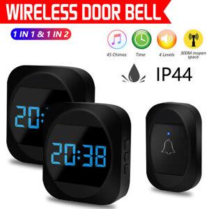 Wireless Doorbell Waterproof Wall Plug-in Door bell Chime Remote 300M 45 Tunes