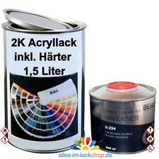 1,5L 2K RAL Acryllack AC Autolack glänzend Benzinfest ohne Klarlack inkl. Härter