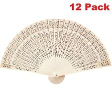 12pcs Chinese Sandalwood Scented Wooden Openwork Personal Hand Held Folding Fans