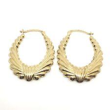 Classic Vintage 9ct Gold Hoop Fancy Earrings Creole 1996 Hallmarked