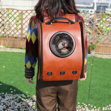 Leather Capsule Pet Carrier Dog Cat Portable Space Backpack Bag Airline Approved