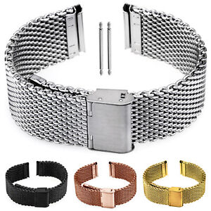 Milanaise Uhrenarmband Edelstahl Armband silber schwarz gold rose Uhr Mesh Loop