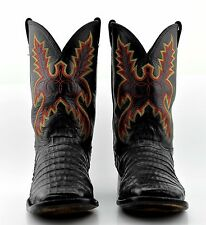 MENS LARRY MAHAN CAIMAN CROCODILE BOOTS 11.5 D SQUARE TOE BLACK TEXAS USA 11 1/2