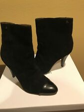 CALVIN KLEIN CARLISSA Black Suede Leather Designer Boots Ankle Boot Booties 8.5M