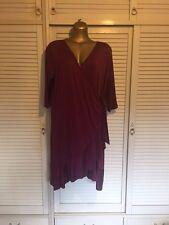 Wrap Around Crimson Dress with Ruffle Hem 3/4 Sleeves in Size 22