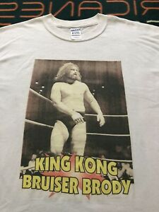 Vintage King Kong Bruiser Brody Shirt White Size Large 1990s Wrestling Tee NJPW