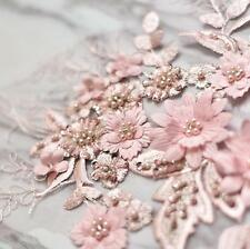 Beaded Lace Motif 3D Pink Floral Embroidered Wedding Dress Sewing Applique Trim