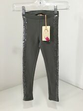 JOY FOLIE MIA JOY GIRLS TUXEDO LEGGINGS W/SEQUINS CHARCOAL 2T (runs Big) NWT