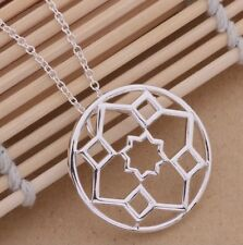 Stunning 925 Sterling Silver Round Pendant Charm Necklace Chain Trendy Fashion