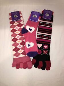 3 Pair Fun Socks 2 Toe Socks One Size And Reg. Socks New With Tags