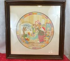 Pat Howell Santa Claus Loading Sleigh Signed Vintage Framed Print Collectible