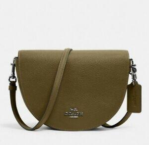 Coach C1432 Ellen Crossbody Shoulder Handbag In Kelp Green Pebbled Leat NWT $328