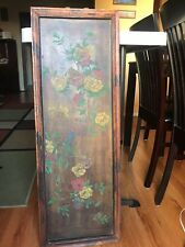 Antique 19th Century Chinese Carved Redwood Painting Panel In Teak Frame