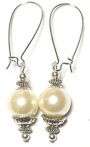 Very Long Silver Pearl Earrings Drop Dangle Ivory Glass Bead Pierced Artisan