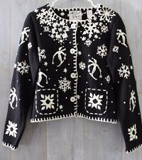 RARE Vintage 1995 MICHAEL SIMON Black Ivory SKIER & SNOWFLAKE Christmas SWEATER