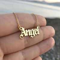 Elegant Angel Old English Font Necklace Letter Pendant Women Girls Cute Gifts