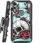 Holster Case For Motorola Moto E (2020) Phone Cover - TEAL SKULL ROMANCE