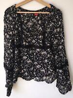 Ladies Black Floral Blouse 14 Esprit  <NZ3348