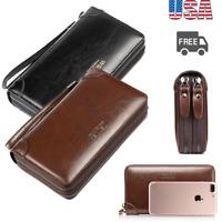 Mens Leather Wallet ID Card Holder Purse Checkbook Passport Long Zipper Billfold